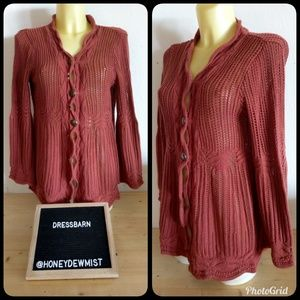 DRESSBARN Cable Knit Button Front Cardigan
